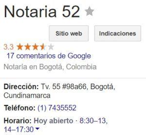 Notaria 52 de Bogotá