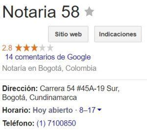 Notaria 58 de Bogotá
