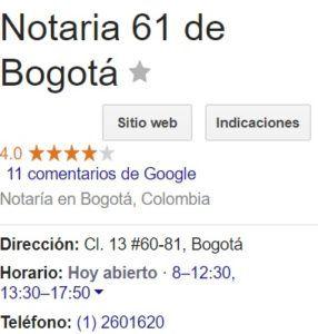 Notaria 61 de Bogotá