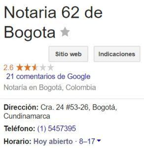 Notaria 62 de Bogotá