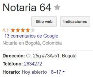 Notaria 64 de Bogotá
