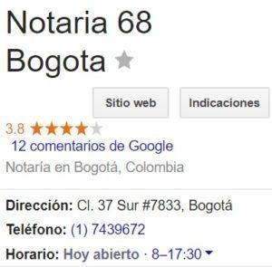 Notaria 68 de Bogotá
