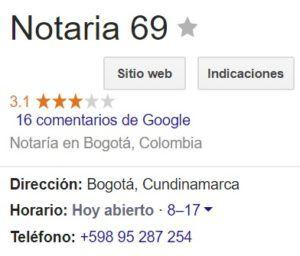 Notaria 69 de Bogotá