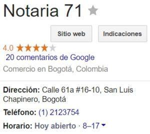 Notaria 71 de Bogotá
