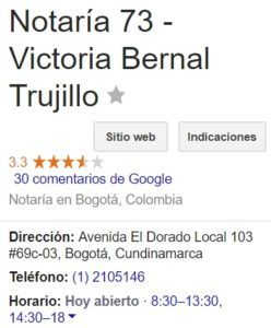 Notaria 73 de Bogotá