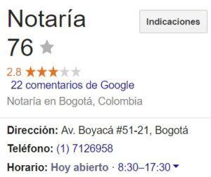 Notaria 76 de Bogotá