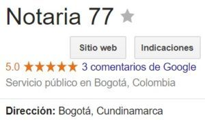 Notaria 77 de Bogotá