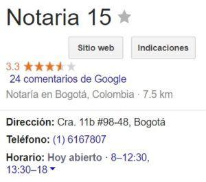 Notaria 15 de Bogotá