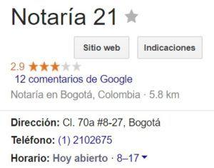 Notaria 21 de Bogotá