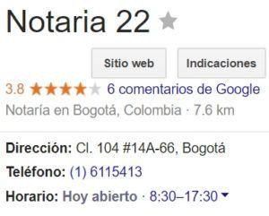 Notaria 22 de Bogotá