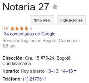 Notaria 27 de Bogotá