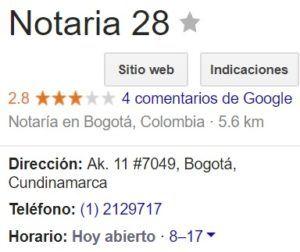 Notaria 28 de Bogotá