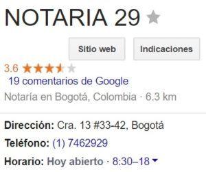 Notaria 29 de Bogotá