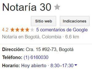 Notaria 30 de Bogotá