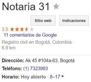 Notaria 31 de Bogotá