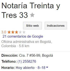 Notaria 33 de Bogotá