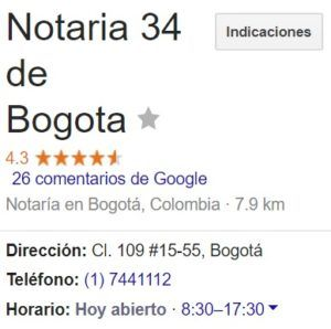 Notaria 34 de Bogotá