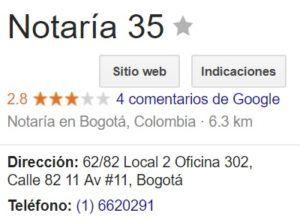 Notaria 35 de Bogotá