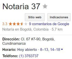 Notaria 37 de Bogotá