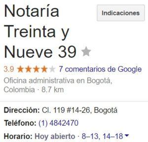 Notaria 39 de Bogotá