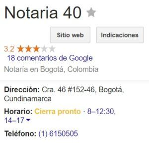 Notaria 40 de Bogotá