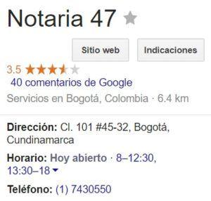 Notaria 47 de Bogotá