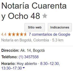 Notaria 48 de Bogotá