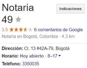 Notaria 49 de Bogotá